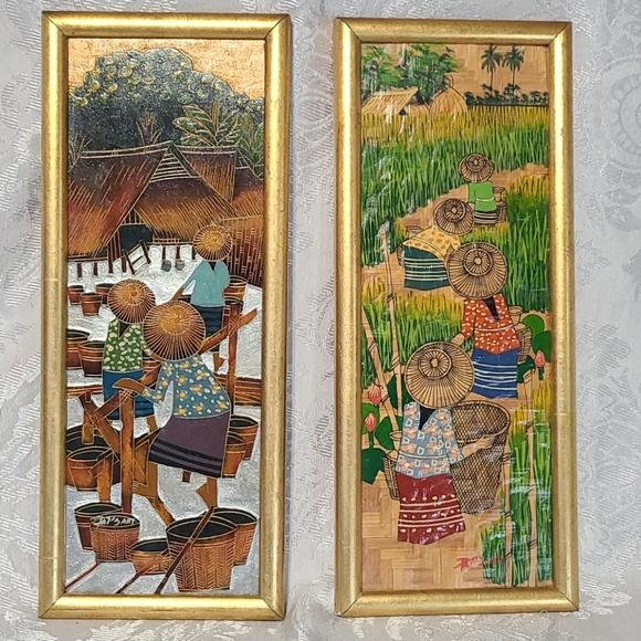 VTG Unique Oriental Framed Wall Art
